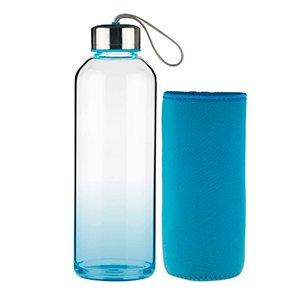Botella azul con funda